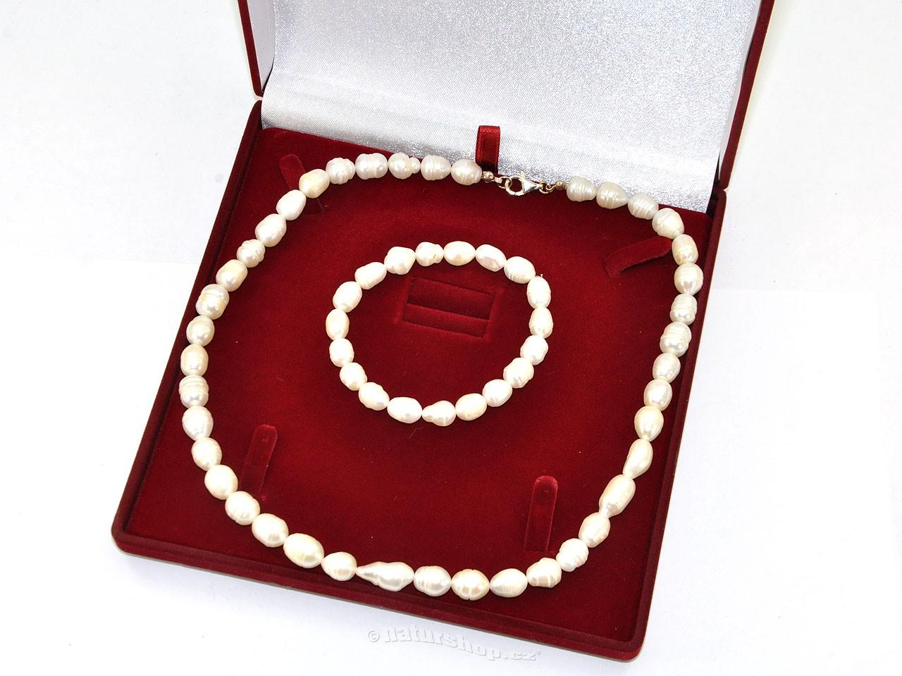 Perly bílé - dárková sada náhrdelník + náramek typ216