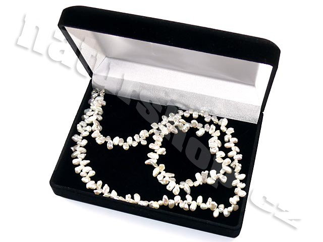 Dárková sada - bílé perly Keshi 44cm