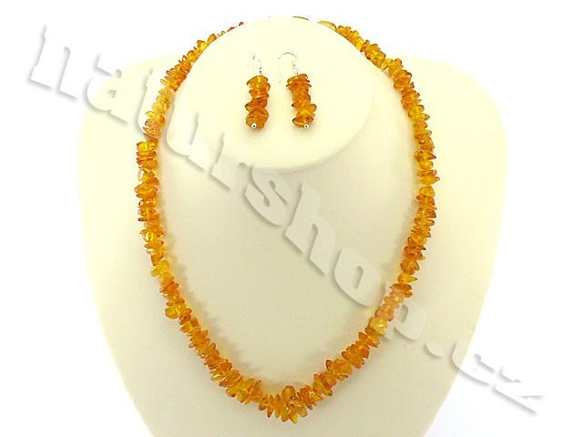 Jantar šperky sada - náhrdelník + náušnice