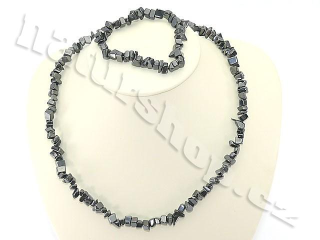 Hematit šperky sada - náhrdelník + náramek
