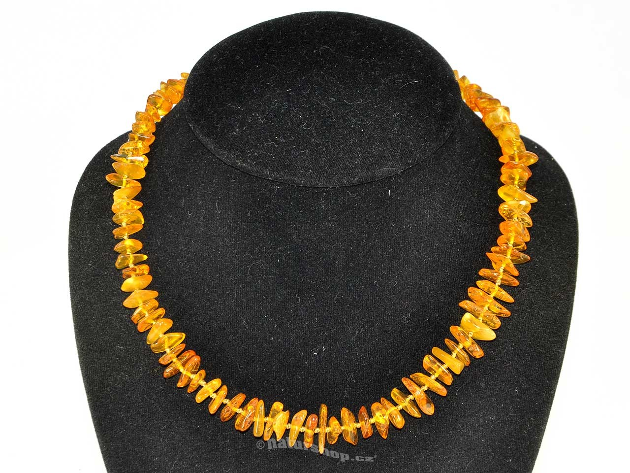 Jantar náhrdelník zlatý s uzlíky 45cm