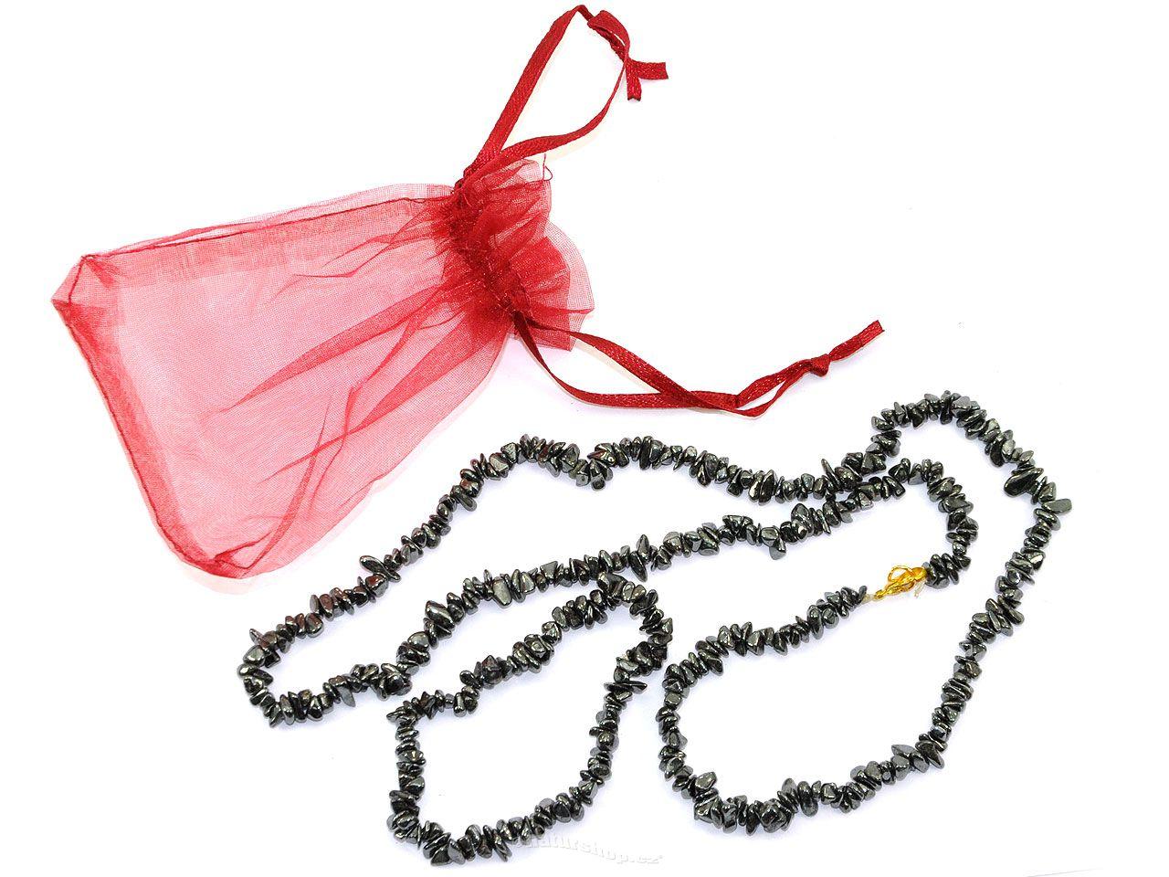 Hematit šperky sada - náhrdelník 60cm + náramek
