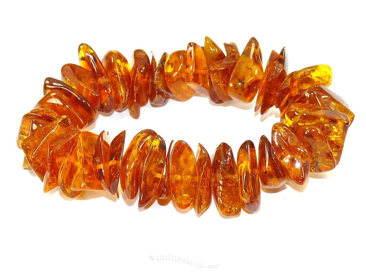 Exkluzivní náramek jantar velké kameny medové 37g