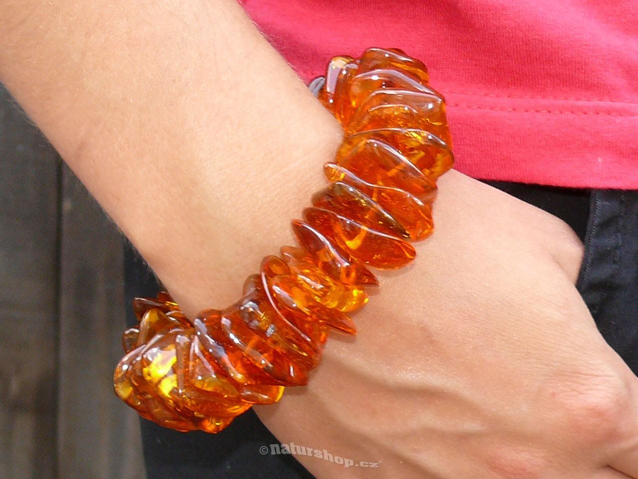 Exkluzivní náramek jantar velké kameny medové 64,9g