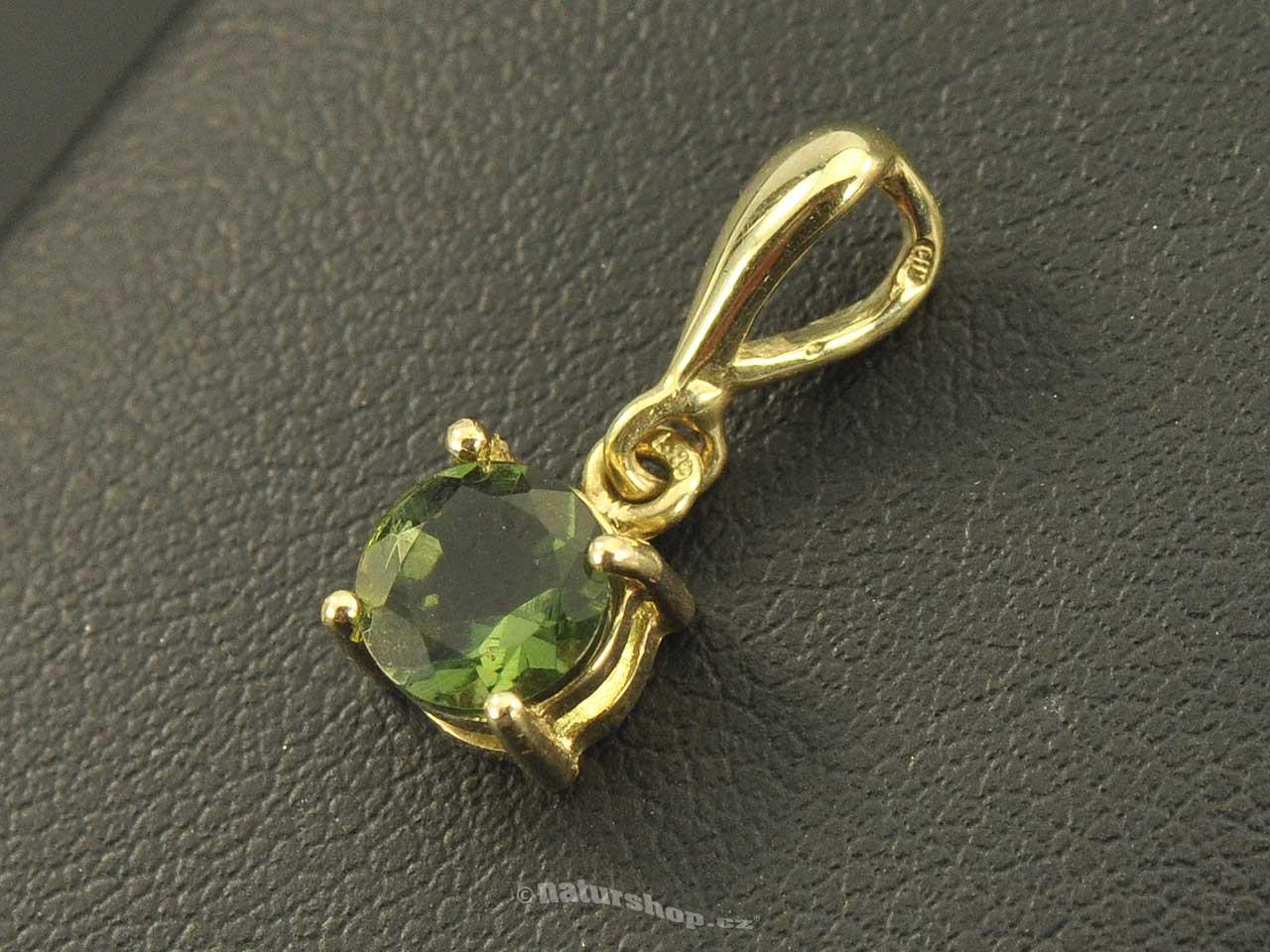 Vltavín zlato přívěsek Au 585/1000 14K 1.03g