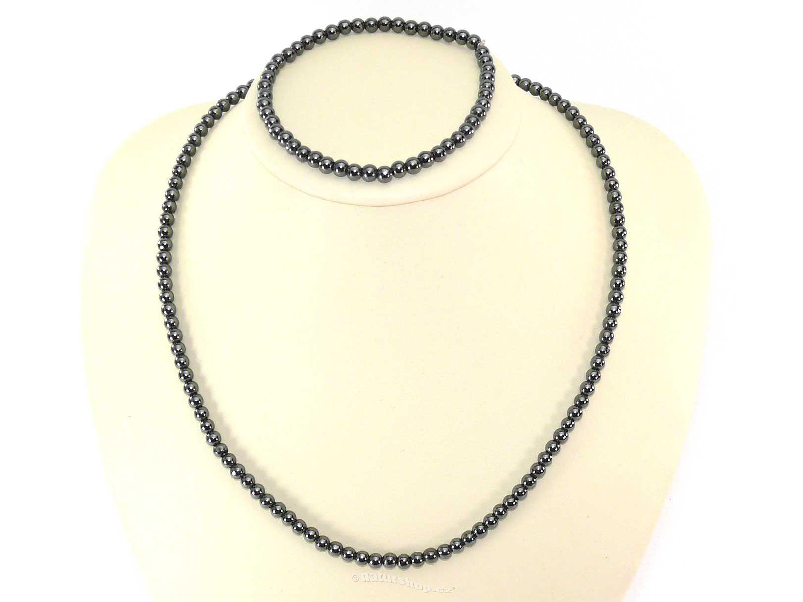 Dárková sada hematit šperky kuličky 4mm