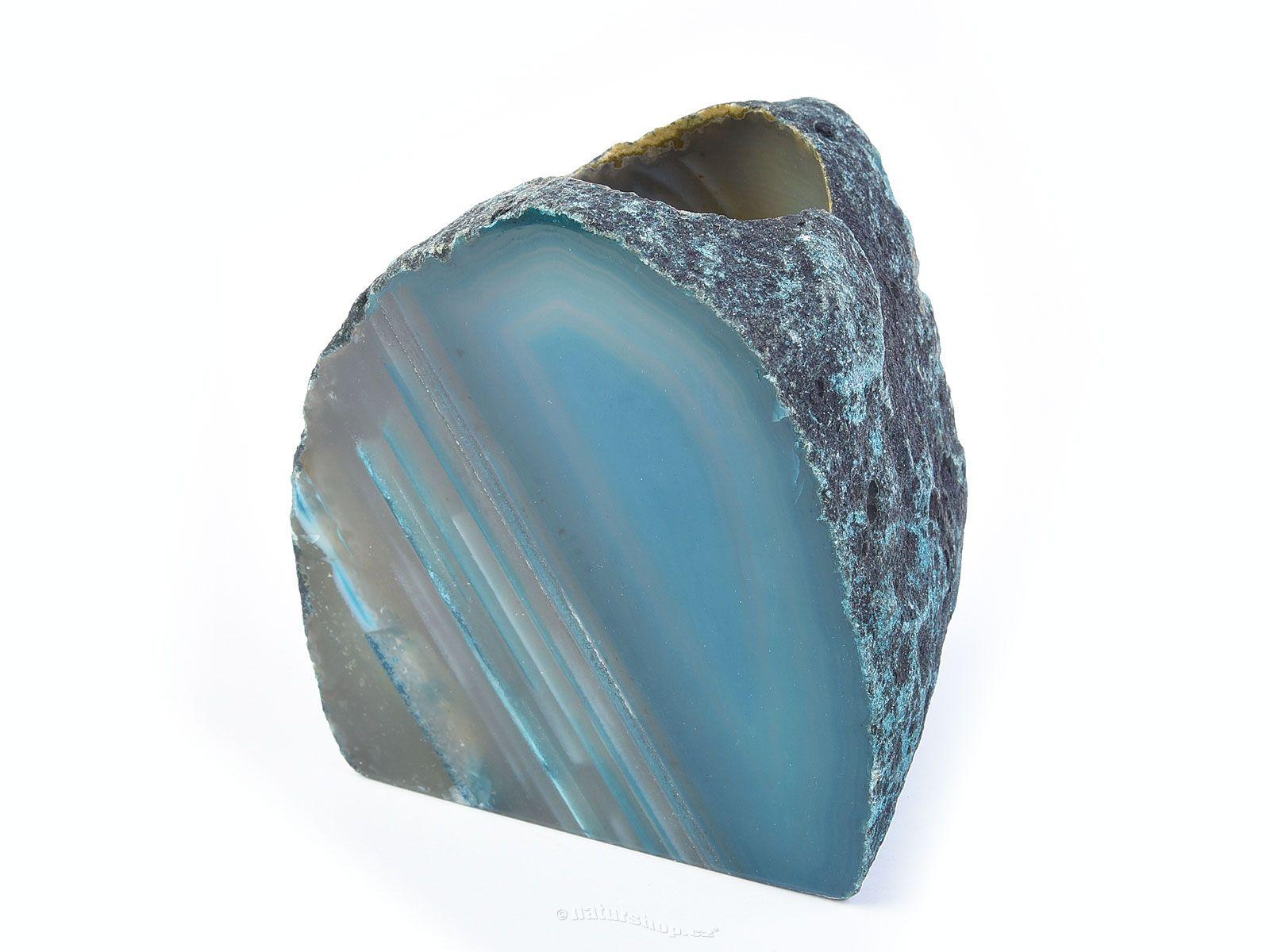 Achátový svícen modrý 910g
