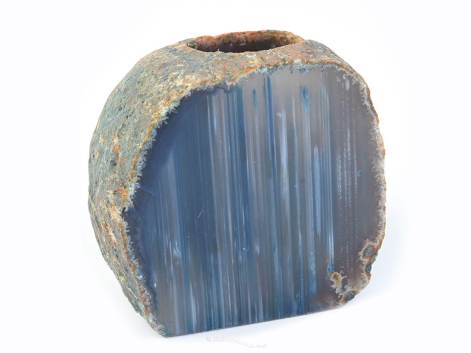 Achátový svícen modrý 990g