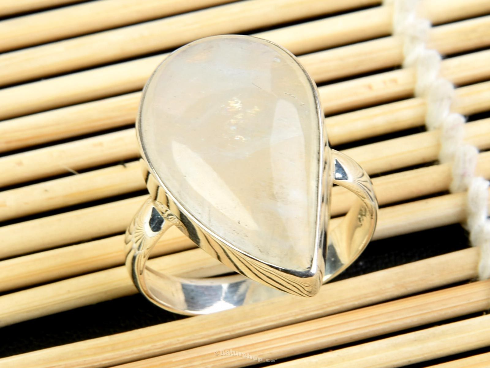 Fossil Moon Drop Ring
