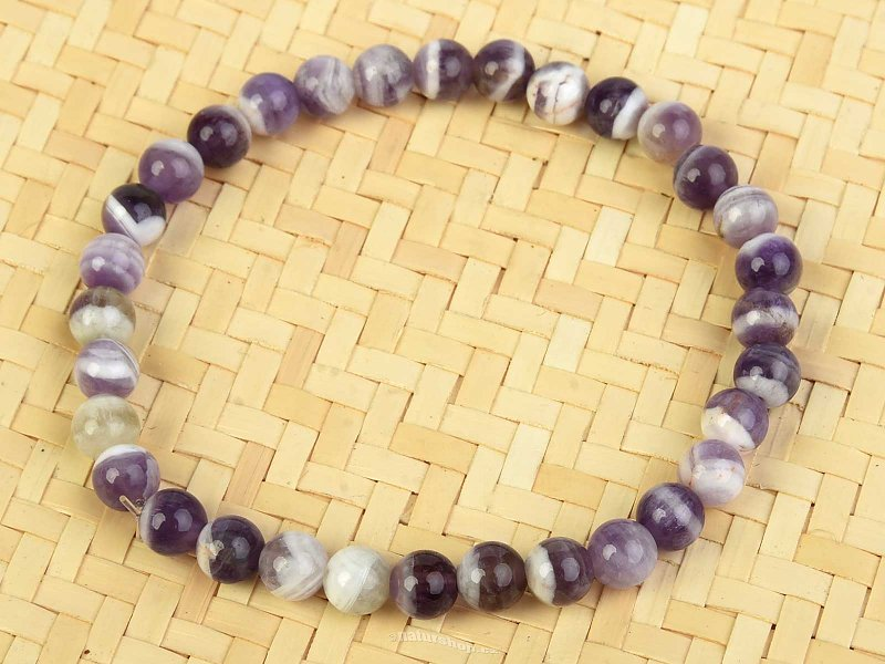 Amethyst striped bracelet round 6mm