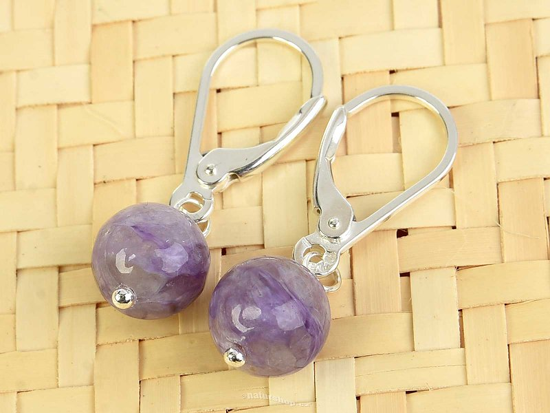 Quartz in quartz earrings round 8mm Ag fastening
