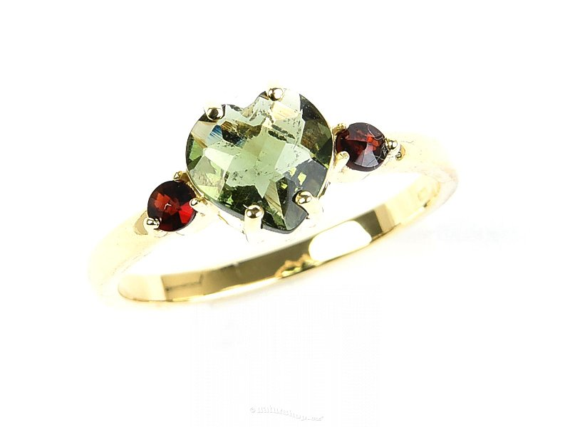 Moldavite ring + garnets 7x7mm checker cut 14K gold Au 585/1000
