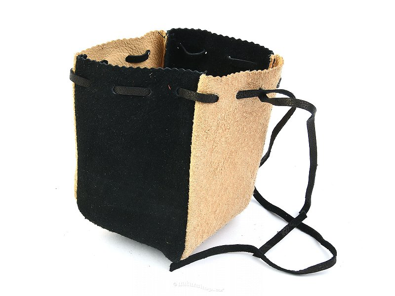 Pouch leather beige-black
