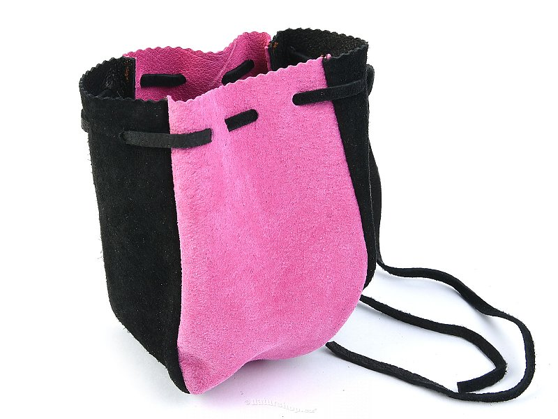 Pouch leather black and pink