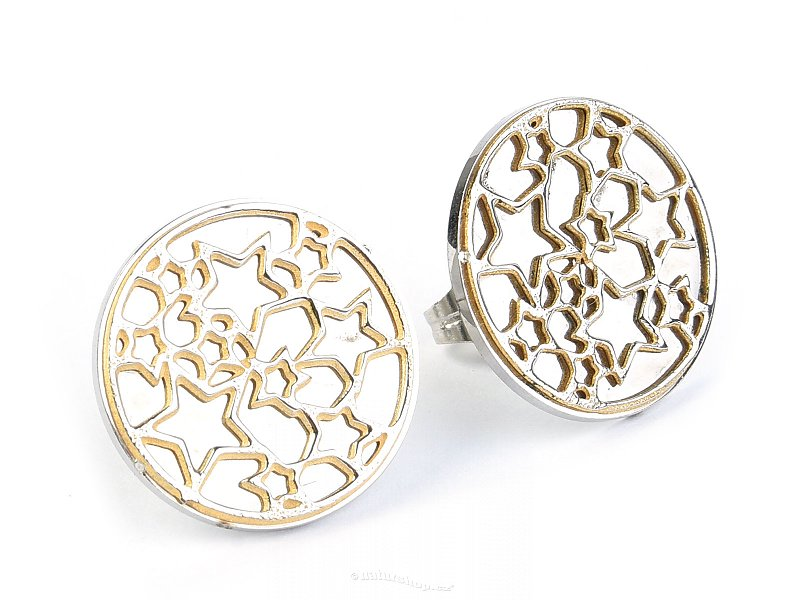 Steel earrings round with stars