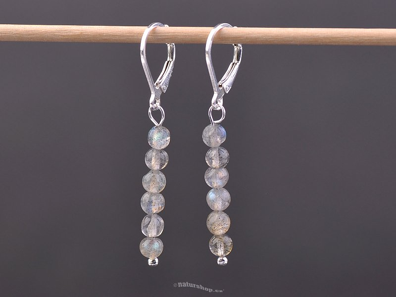 Labradorite beads earrings mini 4 mm