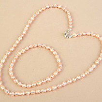 Pearl necklace + bracelet set - apricot typ079