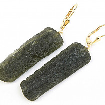 Moldavite earrings gold Au 585/1000 14K 10,77g