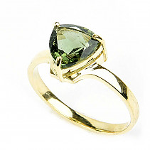 Gold moldavite ring standard cut 14K Au 585/1000