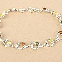 Silver bracelet with amber mix Ag 925/1000 18,5cm