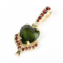 Moldavite and garnet pendant heart 9mm standard cut gold 14K Au 585/1000