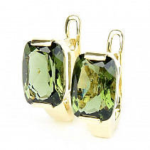 Gold moldavite earrings rectangle 10 x 7mm standard cut 14K Au 585/1000 5,12g