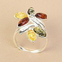 Amber ring flower mix Ag 925/1000