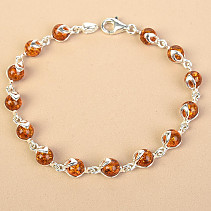 Bracelet of honey amber Ag 925/1000 19cm