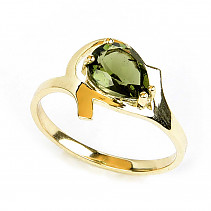 Moldavite ring drop standard cut (size 57) 14K gold Au 585/1000 3.37g