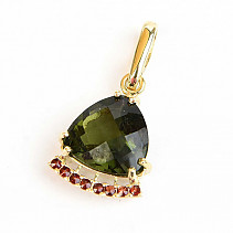 Moldavite and garnet pendant checker cut gold 14K Au 585/1000 1,76g