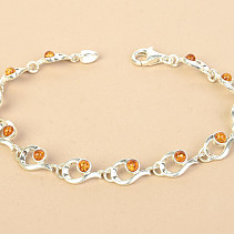 Silver bracelet with honey amber Ag 925/1000 18,5cm