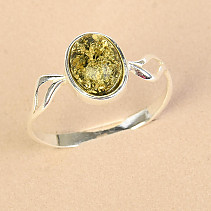 Ag 925/1000 Green Amber Silver Ring