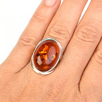 Ag 925/1000 Amber Oval Ring