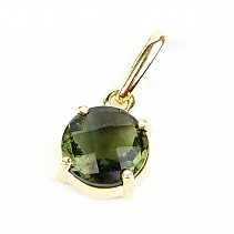 Moldavite pendant round 9mm checker cut gold Au 585/1000 14K 1.59g
