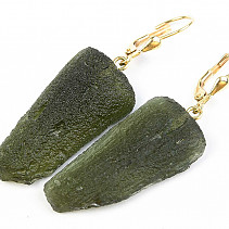 Moldavite earrings gold Au 585/1000 14K 9,17g