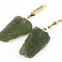 Moldavite Earrings gold Au 585/1000 14K 6,65g