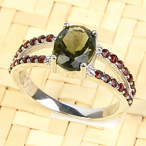 Moldavite with garnets ring standard cut oval 9 x 7mm silver Ag 925/1000 + Rh
