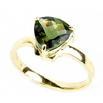 Moldavite ring checker cut 14K gold Au 585/1000
