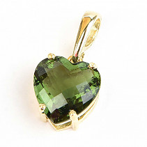 Moldavite pendant heart checker cut gold Au 585/1000 14K 2.76g
