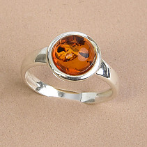 Ag 925/1000 Amber Ball Ring