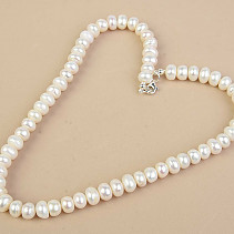 White Pearls Necklace Large Buttons Ag Fastening (45cm)
