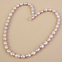 Pink Pearl Oval Necklace 12 x 8mm Ag Fastening (50cm)