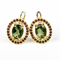 Moldavit Earrings 8 x 6mm Gold Au 585/1000 5.63g