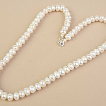 White Pearl Necklace Large Buttons Ag Fastening (53cm)