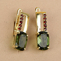 Moldavite and garnet earrings 9 x 6mm gold standard Au 585/1000 14K 4.03g