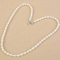 White Pearls Necklace Oval Ag Closure (45cm)