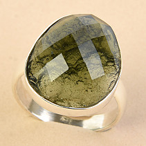 Ring cut moldavite checker cut Ag 925/1000 size 58 - 5.1g
