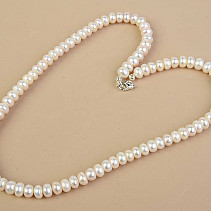 Necklace white pearl buttons Ag fastening (51cm)
