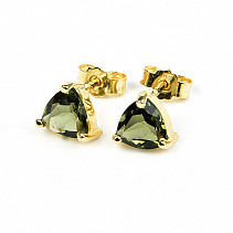 Moldavite earrings 7 x 7mm standard cut gold Au 585/1000 14K 1.89g
