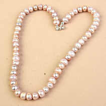 Pink Pearl Necklace Larger Buttons Ag Fastening (45cm)